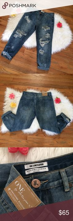 🌷HP 1/17🌷NWOT One Teaspoon Awesome Baggies 🌿 Amazing pair of boyfriend jeans by One Teaspoon! Awesome Baggies style in the color Blue Cobain. Brand new without tags, never worn, only tried on! Extra comfy loose fit, perfectly distressed. A staple pair of great quality jeans to add to your closet! Size 26 :)  Measurements: Waist- 15.5 inches flat across  Rise- 9.5 inches  Hip- About 20 inches flat across  Inseam (unrolled)- 28 inches One Teaspoon Jeans Boyfriend