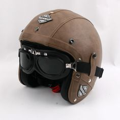 Cheap leather motorcycle helmets, Buy Quality motorcycle helmet vintage directly from China vintage scooter helmet Suppliers: 2016 New brand KCO Retro PU Leather Motorcycle Helmet vintage scooter Helmet motociclistas capacete with goggles,DOT Approved Leather Motorcycle Helmet, Scooter Helmet, Womens Motorcycle Helmets, Cafe Racer Helmet, Motorcycle Tires, Chapeau Cowboy, Helmet Brands, Vintage Helmet, Moto Cafe