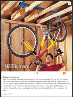 Moveable bike rack hanging from rafters   http://www.familyhandyman.com/garage/storage/garage-storage-diy-tips-and-hints