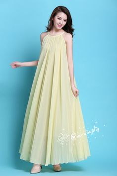 90 Colors Chiffon Light Yellow Long Party Dress Evening Wedding Sundress Maternity Summer Holiday Be