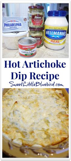 Hot Artichoke Dip Recipe {with diced green chiles} The best!!! | SweetLittleBluebird.com