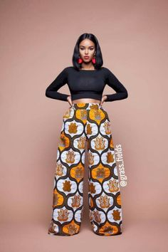 Feel awesome wearing Grass-fields African print pants, made from brilliant African fabric sourced from Cameroon. African Fashion Ankara, Ghanaian Fashion, Latest African Fashion Dresses, African Dresses For Women, African Print Fashion, Africa Fashion, African Attire, African Wear, African Women
