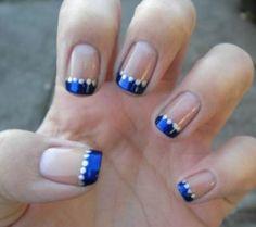 Blauw met zilveren stipjes