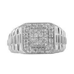 White Gold Men's Diamond Nugget Rolex Ring