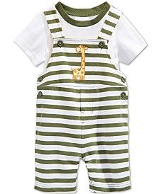 First Impressions Baby Boys' 2-Piece Giraffe Shortall & T-Shirt Set, Only at…