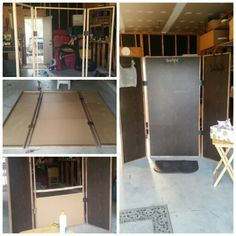 """DIY overspray screen for my mobile spray tanning business. Made out of 1"""" oak trim although I would recommend using a softer wood (cracked when I would screw things without pre-drilling), and 1/8"""" plywood peices covered in mahogany contact paper."""