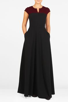 #Colorblock yoke #cotton #knit #maxi #dress #eShakti