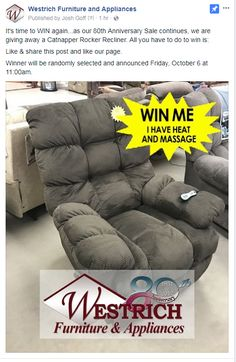 Westrich Furniture Head On Over To Our Facebook Page For Your Chance Win