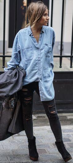 Noholita Oversized Denim Button Up Fall Street Style Inspo