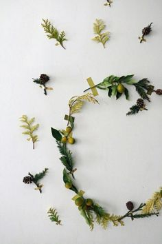 Chartreuse Christmas Gardenista: Erin, our small-space urban dweller, created a two-dimensional wreath using prigs of kumquat, cedar, dark green pine , foil tape in brass, and colorful washi tape.