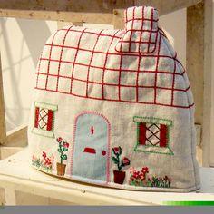 Handmade Knit Cottage Chimney House Village Decor Cross Stitch Easter Kitchen Tea Party Flower Pot Retro Embroidery Mom Gift Birthday Garden