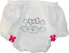 Cover up that diaper and let your little baby crawl around in style in this fashionable diaper cover. This diaper cover is embellished beautifully with dazzling rhinestones that show of a punk rock skull and bones design with hearts for eyes and a cute pink bow on top to match. It is also decorated with red bows that are donned upon with crystals, and is finished off with dainty lace. Your little baby will love wearing this Bling Bones Diaper Cover by ShopBabyPosh.
