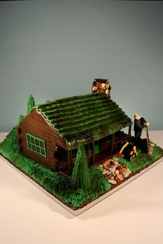 Cabin in Woods cake by marksl110, via Flickr Cake Pictures, Cake Pics, Wood Cake, House Cake, Cabins In The Woods, Cupcake Cakes, Cupcakes, Cake Decorating, Special Occasion