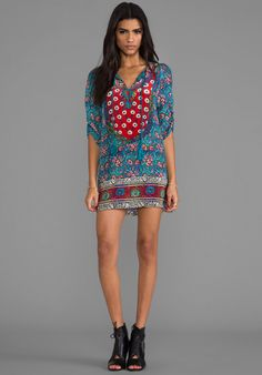 TOLANI Sarita Dress in Turquoise- I would probably wear leggings too