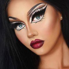 Verrücktes Make-up, inspirierendes Make-up Crazy Makeup, Weird Makeup, Makeup Looks, Eye Makeup, Drag Queens, Drag Make-up, Halloween Make Up, Halloween Face Makeup, Bratz Doll Makeup