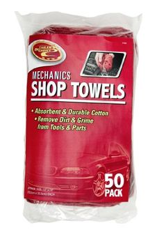 Detailer's Choice 3-558 Red 13 x 14 Shop Towel, (Pack of 50) Made of absorbent durable cotton. Ideal for removing dirt and grime from tools and parts. Towel size 13 inch x 14 inch. 50 towels per pack.  #Detailer'sChoice #AutomotivePartsAndAccessories
