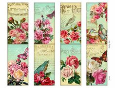 Vintage French Birds Roses Digital Collage Sheet by GalleryCat, $3.89
