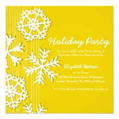 Yellow Snowflakes invitation #yellow #invitations #partyinvitations #holidayparty