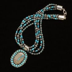 Necklace with Royston Ribbon Turquoise Pendant & Silver Beads- Native American Made
