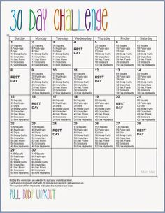 Free Printable: 30 Day Full Body Fitness Challenge {Abs, Thighs, Butt, Arms}