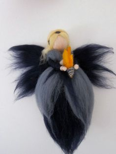 Needle Felted Fire Fairy, Hanging Fairies, Waldorf Fairy Doll, Fire Fairy , made to order
