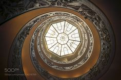 Stairway to Heaven - Low-angle view of spiral stairs of the Vatican Museums  designed by Giuseppe Momo in 1932  (Inspired by the spiral Bramante stairs)  http://ift.tt/2rxGlK2 Do you like this? Visit my City & Architecture gallery if you want see more works!Thank you for your support!