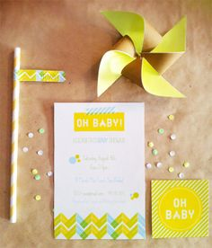 Neon Baby Shower Invitation