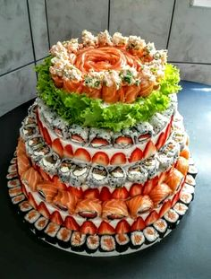 SUSHI CAKE! Wish I knew what the Strawberry Layer was made of