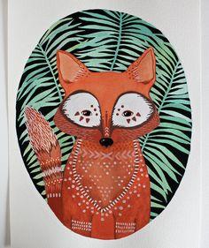 Watercolor Painting - Fox Illustration Art - River Luna - Archival Print 8x10