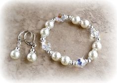 Pearl and Swarovski Crystal Bracelet and Earring by HeartofGems