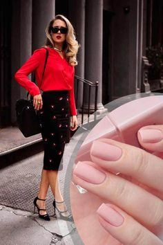 business-casual-nails-red-outfit-matte-nude Top 50 Best Business Casual Nails 2018 Nail Art Business Casual Nails