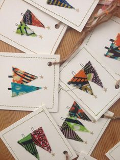 5 x Christmas Gift Tags - Handmade, African Print Designs Christmas gift ideas – unusual Christmas ideas Out of all the things that we've previously disco Homemade Christmas Cards, Christmas Cards To Make, Christmas Gift Tags, Handmade Christmas Gifts, Fabric Postcards, Fabric Cards, Handmade Gift Tags, Christmas Makes, Natural Christmas