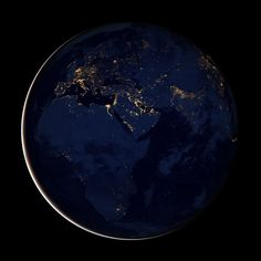 NASA satellite, night time view of Earth from space, showing the European and African continents, also the Middle East.