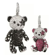 Rock-'n'-Roll! Give your most cordial applause to our superstar Rocka Bo Bo.It just make its very first debut on Qeelin. Handmade Polymer Clay, Polymer Clay Jewelry, Moon Necklace, Pendant Necklace, Panda Bear, Whimsical, Fine Jewelry, Jewelry Design, Pure Products