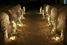 candles and petals for aisle #wedding