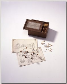 Peas-work, Froebel gift 19, Meyers & Co. London, c.1860. Softened peas and sharpened sticks were used to make structures like Buckminster Fuller's. Kids still do this with toothpicks and clay or mini-marshmallows today.