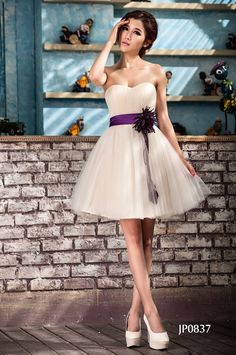 Amazon.co.jp: JP0837 ミニ ドレス ベルト付き 花嫁ドレス シャンパン ウェディングドレス ミニ パーティードレス 姫系ドレス 演奏会 発表会 3714080708 (M, ムラサキベルト): 服&ファッション小物