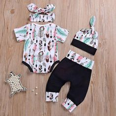 Feather Print Baby Romper Outfit Set For Toddler Toddler Girls' Clothing Toddler Girl and Toddler Boy Clothes Toddler & Baby Girl Clothes Kids Clothes Girl Clothes - June 01 2019 at Toddler Girl Style, Toddler Girl Outfits, Kids Outfits, Toddler Girls, Baby Girls, Baby Style, Infant Toddler, Baby Girl Fashion, Toddler Fashion