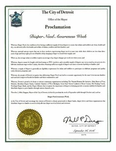 DETROIT, MI - Mayoral proclamation recognizing Diaper Need Awareness Week (Sep. 26-Oct. 2, 2016) #DiaperNeed Diaperneed.org