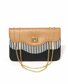 Nila Anthony Colorblock Striped Tote Bag with Chain