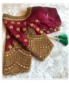 No photo description available. Wedding Saree Blouse Designs, Stylish Blouse Design, Saree Blouse Neck Designs, Fancy Blouse Designs, Half Saree Designs, Traditional Blouse Designs, Couture, Sequins, Floral