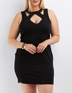 Plus Size Caged Cut-Out Bodycon Dress: Charlotte Russe