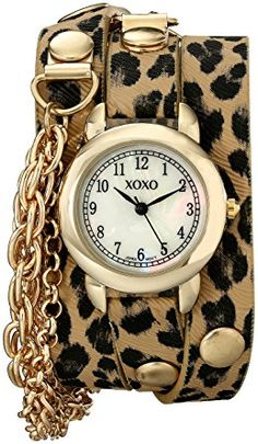 XOXO Women's Cheetah Patterned Band with Chains Accent Double Wrap Watch