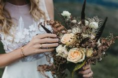 Mountain Wedding Alpine Fall Wedding National Park Inspiration Boho Bridal Autumn Earthy Dress: Petra Pflegpeter Couture, Flowers: La Fleur die Blumenwerkstatt, Jewelry: Goldschmiede Wiedl