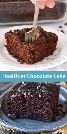 Healthier Chocolate Cake This healthier chocolate cake tastes like a double chocolate banana muffin! No sugar, butter or oil, but bananas, Greek yogurt and honey! Chocolate Greek Yogurt, Chocolate Butter Cake, Hot Chocolate Fudge, Chocolate Desserts, Healthy Chocolate Cakes, Chocolate Chips, Double Chocolate Cake, Vegan Chocolate, Fudge Recipes