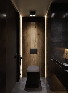 Moody Modern Industrial Interiors With Wood And Concrete Decor Bathroom Design Luxury, Modern Bathroom Design, Home Interior Design, Bedroom Modern, Wc Design, Loft Design, Small Toilet Design, Bathroom Inspiration, Industrial Interiors