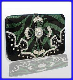 Green Western Style Cross Wallet with Rhinestones - Wallets (*Amazon Partner-Link)