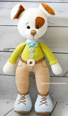 Amigurumi, Amigurumi Hund Muster, Amigurumi Tier, Amigurumi kostenlose Muster, A . - Tiere - Leads For Amigurumi Crochet Diy, Crochet Gratis, Crochet Amigurumi Free Patterns, Crochet Doll Pattern, Crochet Dolls, Dog Crochet, Amigurumi Tutorial, Knitting Patterns, Crochet Animals