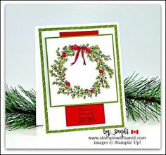 Stampin Up Feeling of Christmas card by Sandi @ stampinwithsandi.com #stampinup #feelingofchristmas #stampinwithsandi #sandimaciver #stampinupcardideas #christmascardideas