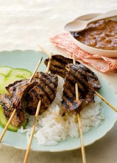 Indonesian Beef Satay With Peanut Sauce ~ Satay is an excellent dish for introducing kids to the flavors of the East. These skewers of grilled marinated beef and the spicy-sweet pean...